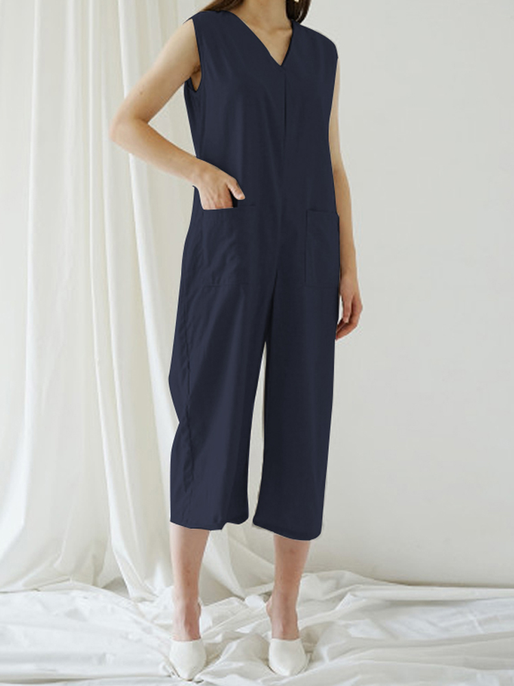 Eachine1 / Solid Color Sleeveless V Neck Wide Leg Pocket Jumpsuit