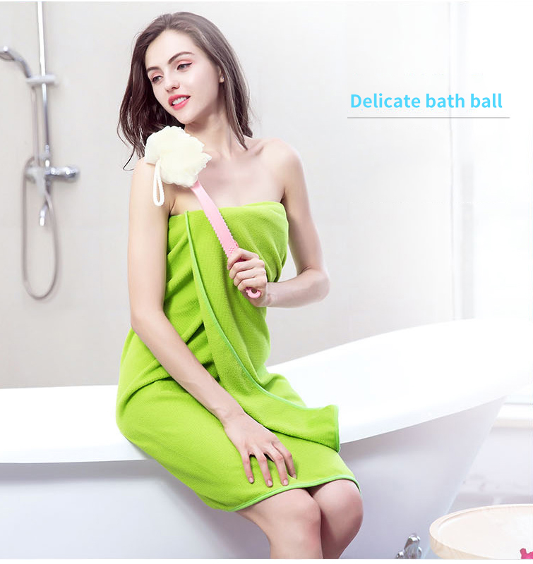 Honana Double Sided Soft Long Handle Bath Ball Compreahensive Cleaning Brush