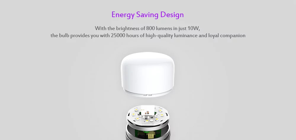 Xiaomi Yeelight YLDP05YL E27 10W Warm White to Daywhite Smart LED Bulb Wifi App Control AC100-240V