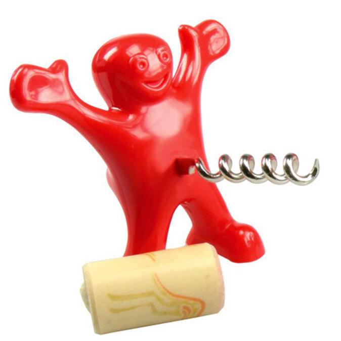 KCASA KC-OP01 Hot Sale 1pc Funny Happy Man Guy Wine Opener Novelty Bar Tools Wine Cork Bottle Opener Interesting Gifts
