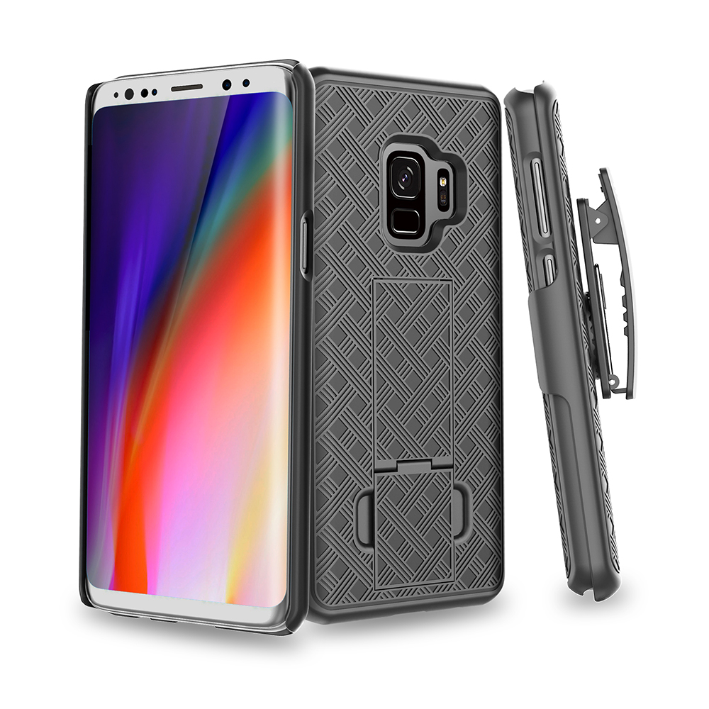 Bakeey 3 in 1 Woven Armor Belt Clip kickstand Protective Case for Samsung Galaxy S9/S9 Plus
