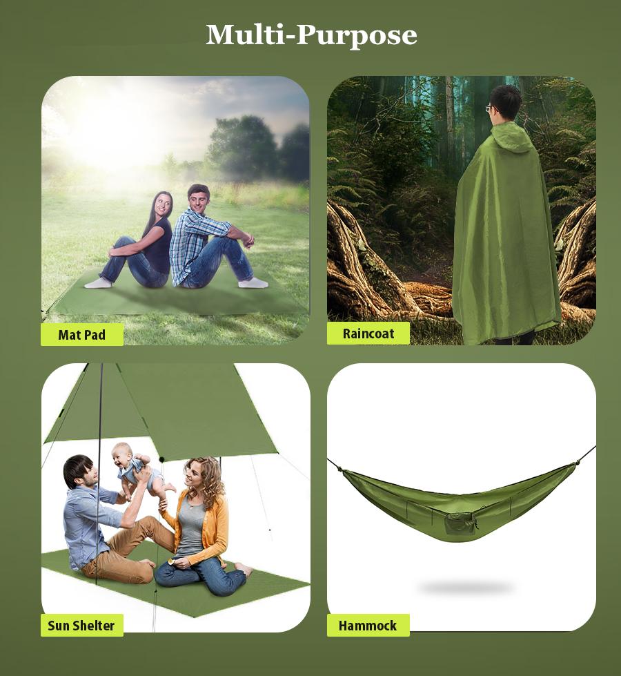 Xmund XD-HK1 4 in 1 Hammock Portable Multifunctional Hanging Swing Bed Camping Mat Outdoor Raincoat