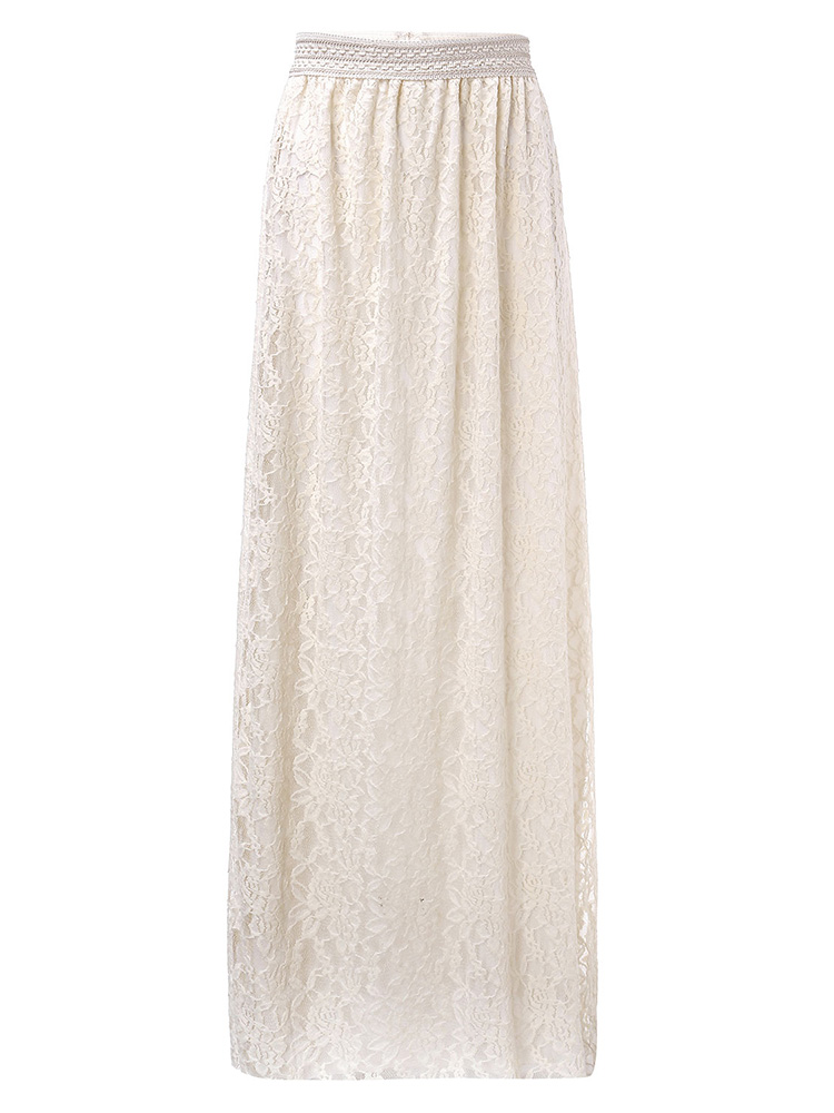 Elegant Women Lace Floral Elastic Waist Hollow Out Pleated Long Skirt