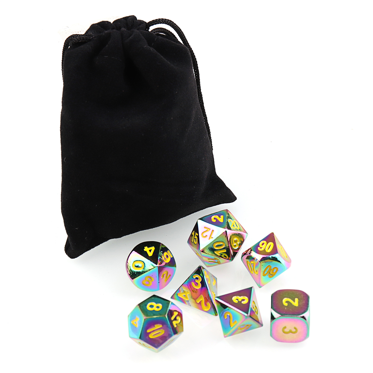 7Pcs Embossed Heavy Metal Polyhedral Dice DND RPG MTG Role Playing Game with Bag