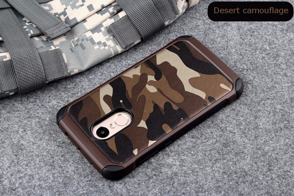 Camouflage Hybrid Hard PC Back & TPU Cover Shockproof Case For Xiaomi Redmi Note 4