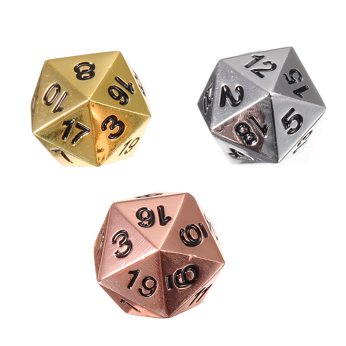 3pcs Solid Metal D20 Polyhedral Dice Set Bright Copper Chrome Silver Gold D&D