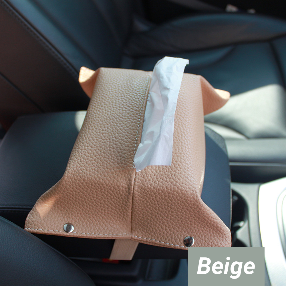 Leather Hanging Type Car Seat Back Tissue Box Napkin Pumping Paper Portable Holder Case Office