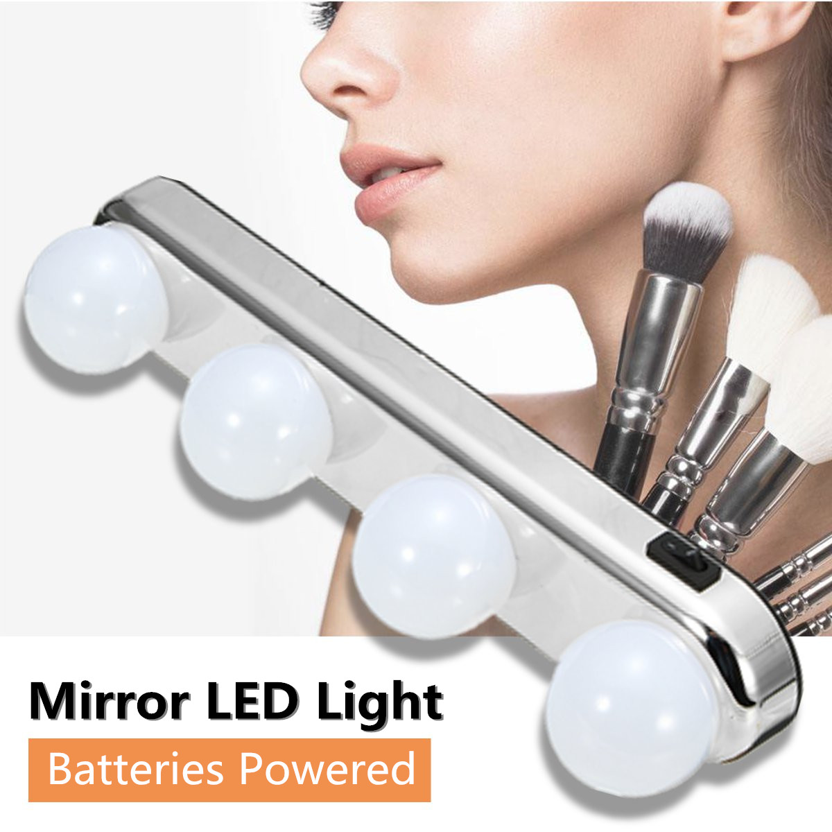 4 Bulbs LED Makeup Mirror Light Portable Suction Cups Batteries Powered Makeup Lamp