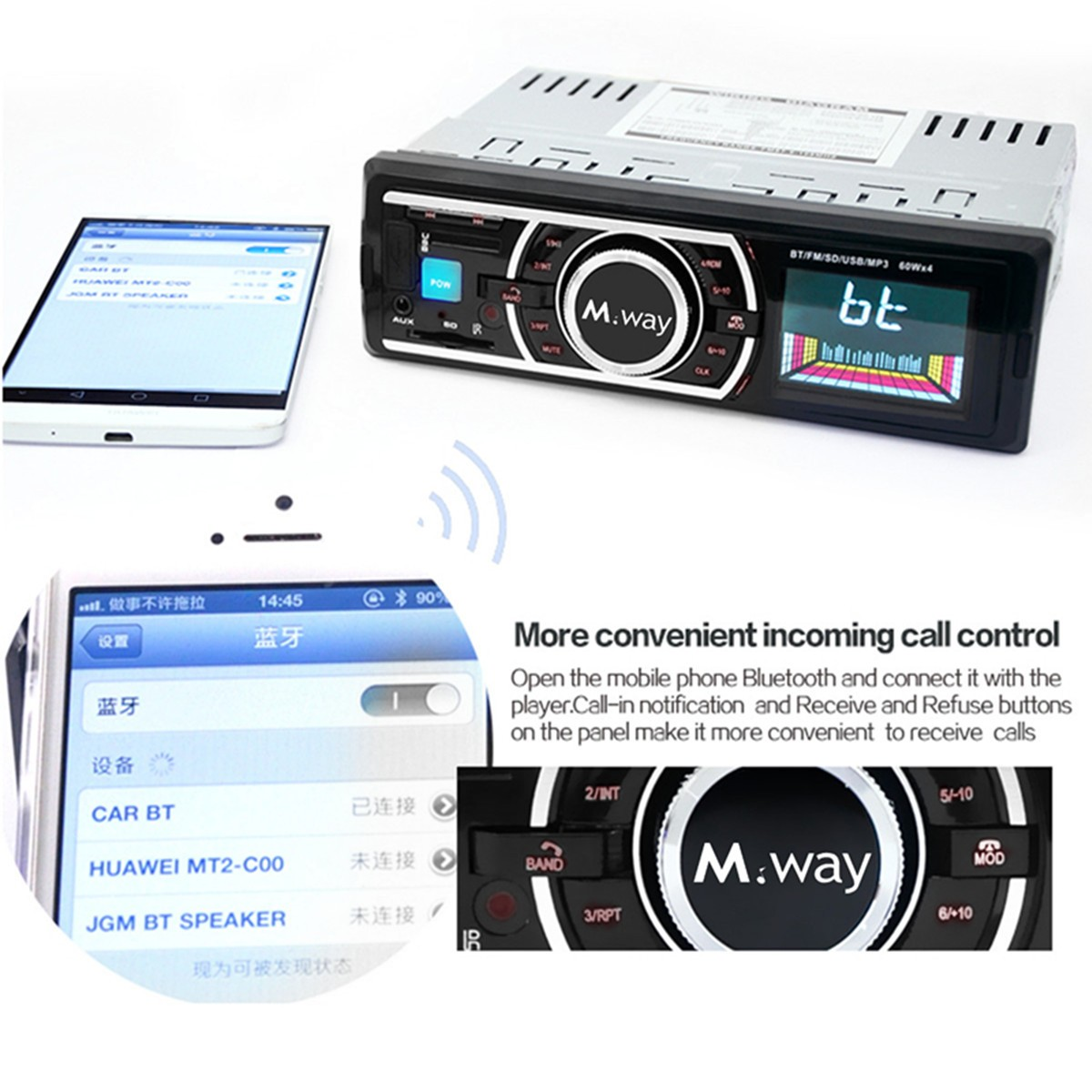 M.way bluetooth Car Radio Stereo Head Unit Player FM Transimittervs MP3/USB/SD/AUX-IN In Dash