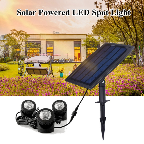 Solar Powered 3 Underwater Spotlights Waterproof IP68 LED Outdoor Garden Pool Pond Landscape Lights