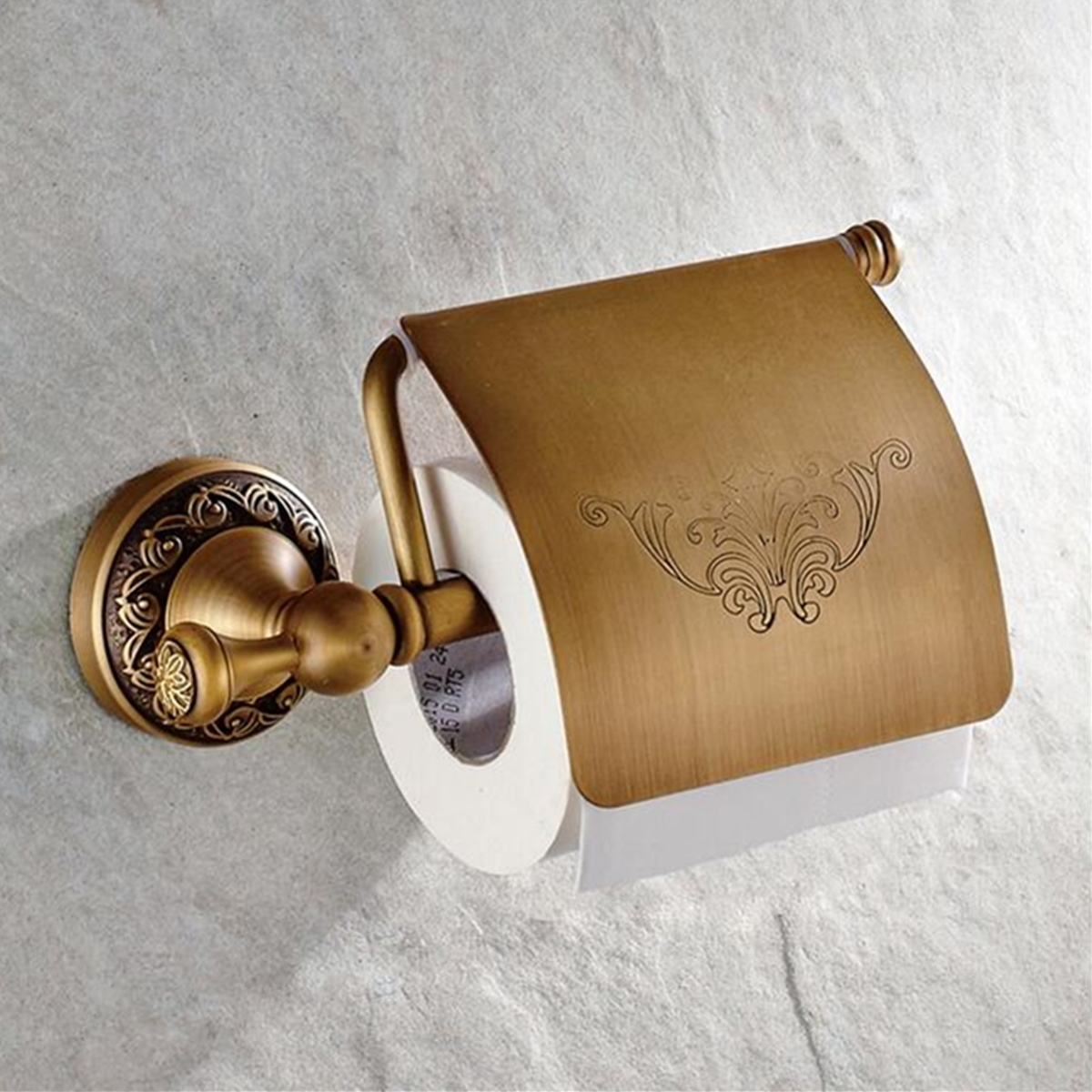Retro Wall Mounted Antique Brass Toilet Paper Container Tissue Roll Bar Shelf Holder Bathroom
