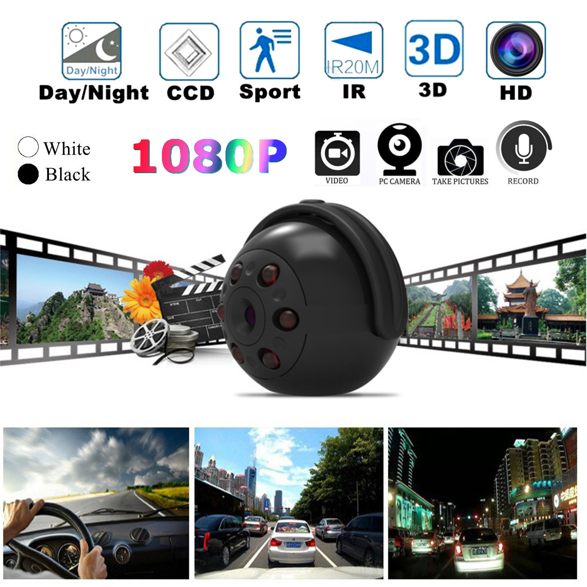 SQ9 1080P Hidden 360 Rotation Mini Camera IR Night Vision Video Car DVR