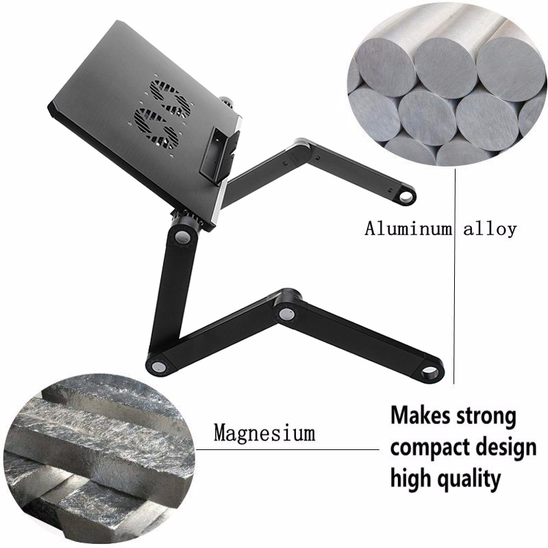 360° Foldable Aluminum Alloy Laptop Cooling Standing Desk Table Stand For Bed Sofa With USB Cable