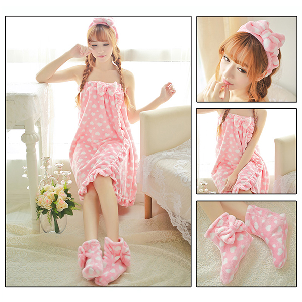 3 Pcs Flannel Bathing Suits Sweety Body Towel Sleepwear Dress With Hair Band Shoes