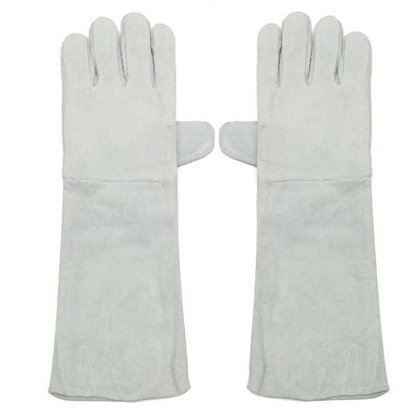 W‎eldin‎g Glove‎s Long Cuff Soft Leather Welding Protective Gloves Heat Gear Fireproof Waterproof