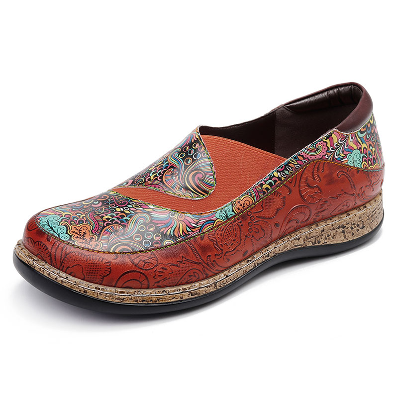 SOCOFY Splicing Pattern Genuine Leather Shoes