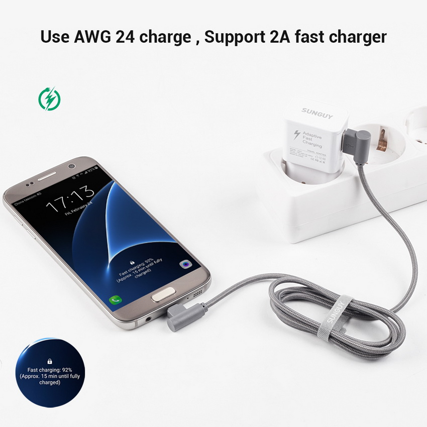 Bakeey 90 Degree Micro USB Fast Charging Cable 25cm For Xiaomi Redmi Note 4 4X Samsung S7 S6 Edge