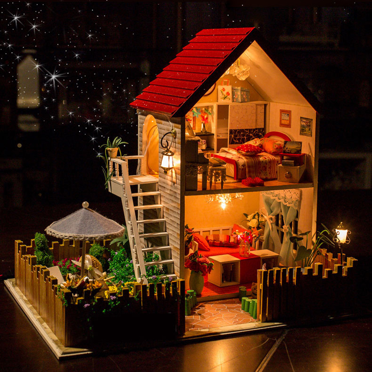 Hoomeda 13828 The Star Dreaming House DIY Dollhouse With Light Music Miniature Model Gift Decor