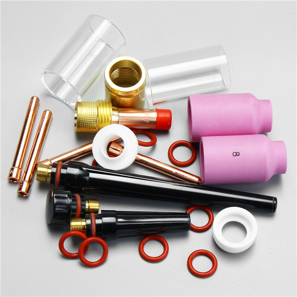 22pcs TIG Welding Torch Stubby Gas Lens Glass Nozzle Cup Kit 1.0/1.6/2.4/3.2mm