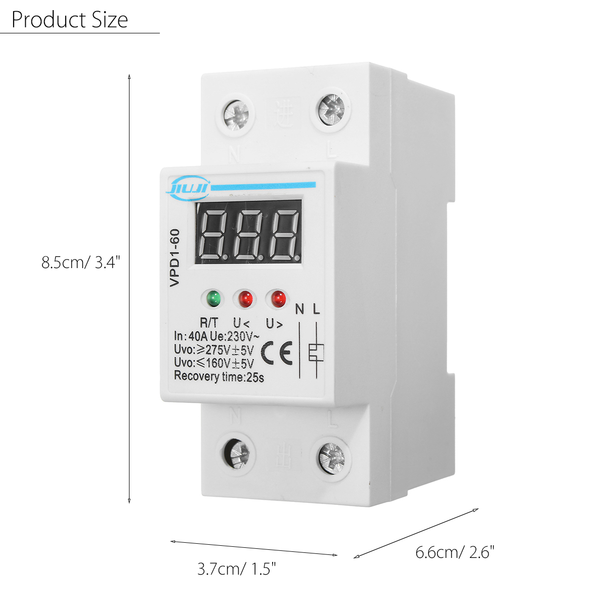 VPD1-60 40A 220V Over and Under Voltage Protective Device Automatic Reconnect Recovery