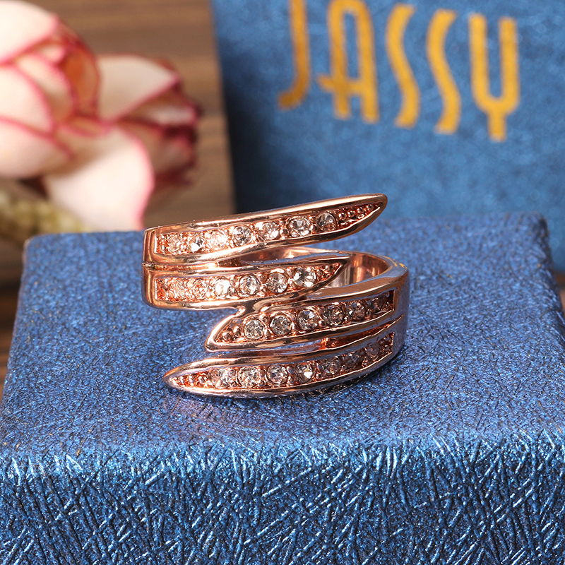 JASSY® Brand Women Rose Gold Ring Crystal Jewelry