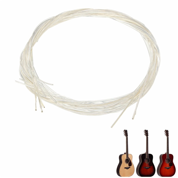 Set of 6 White Nylon Guitar Strings For Classical Guitar