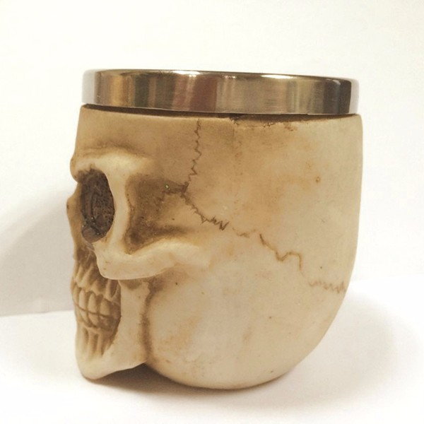 Retro 3D Stainless Steel Skull Cup Novelty Skull Head Vodka Mug Coffee Drinking Cup Drinkware