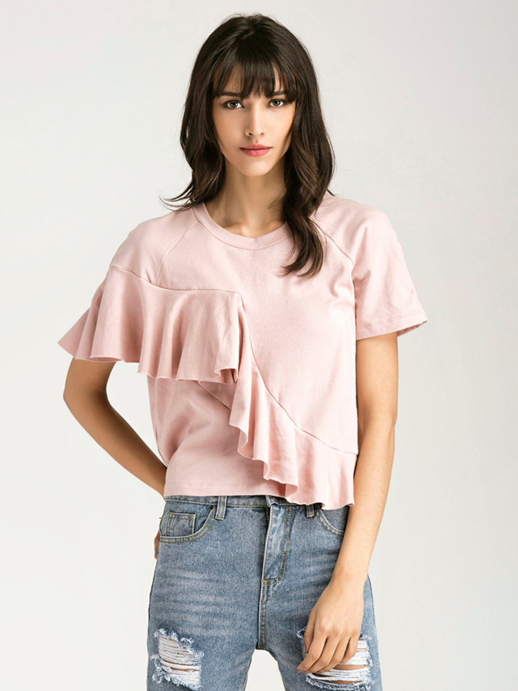 Women Short Sleeve Lotus Leaf Casual Summer Ruffle Pink T-shirts