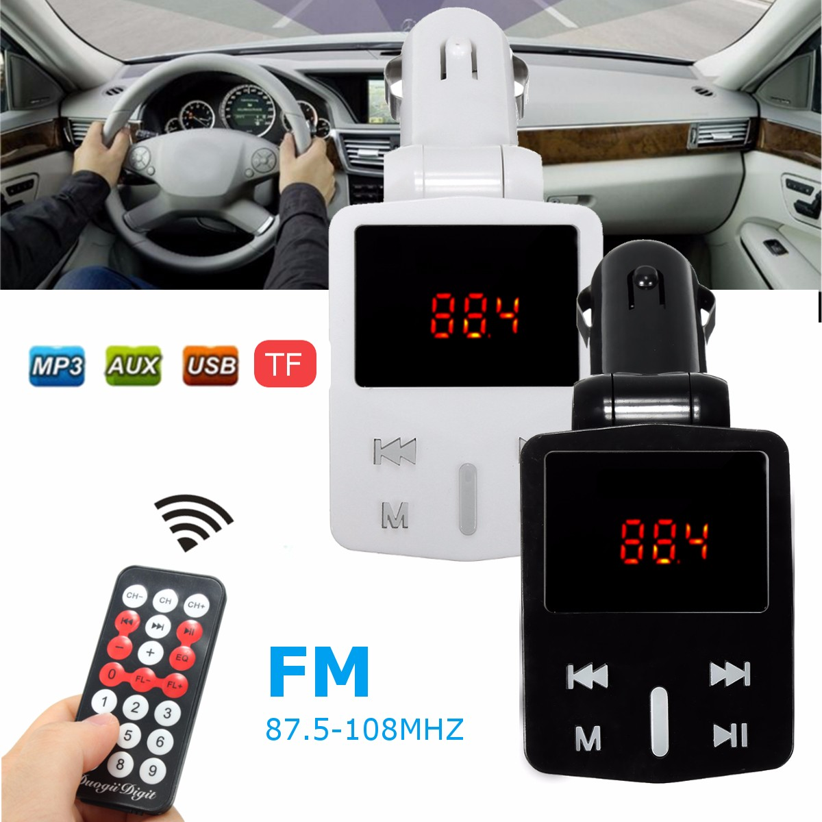 1.2″ LED Display Car Kit MP3 Player FM Transmitter Modulator MicroSD Car Charger For iphoneX Samsung