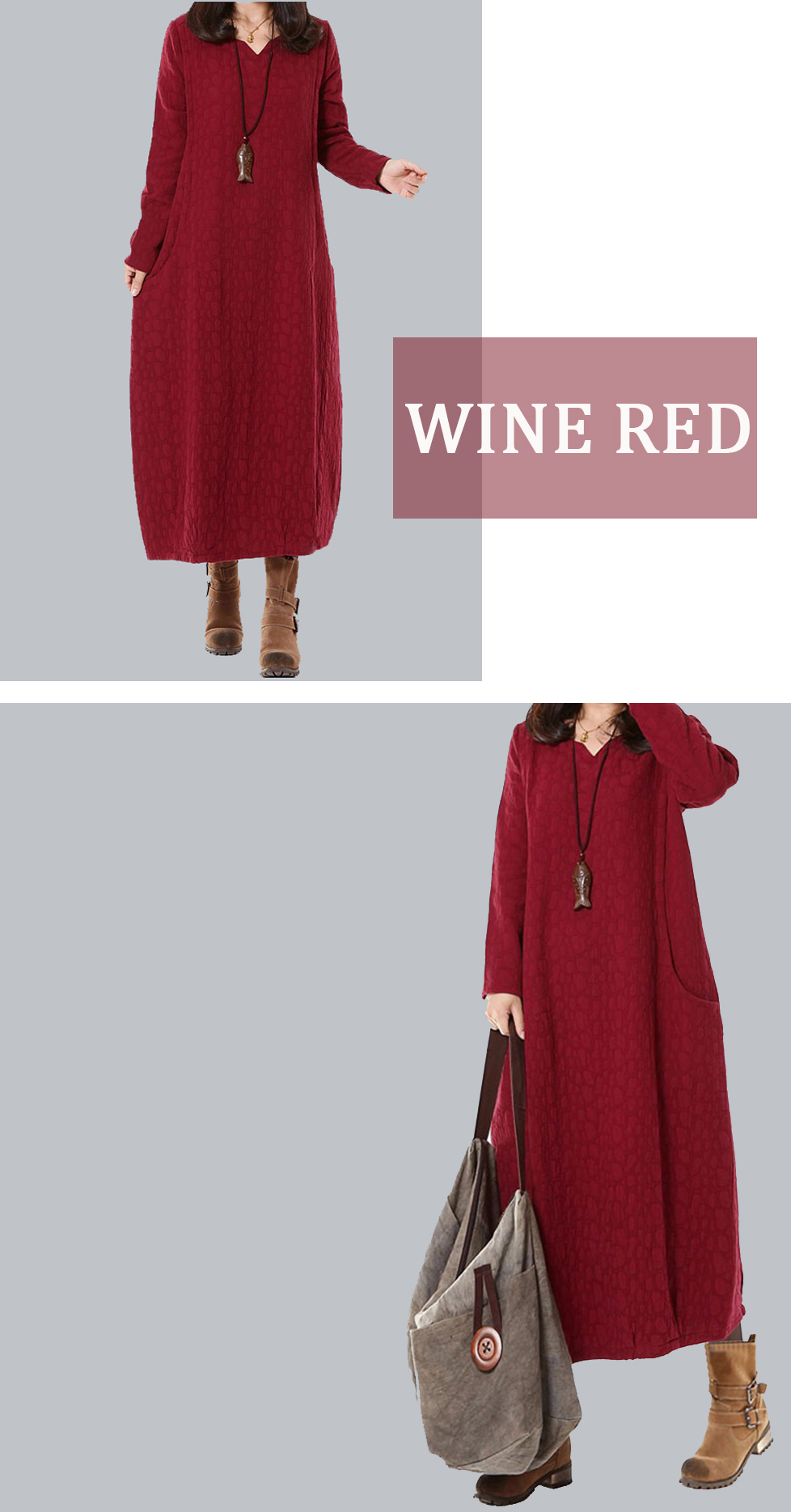 Casual Elegant Women Jacquard Long Sleeve Pure Color Long Dress