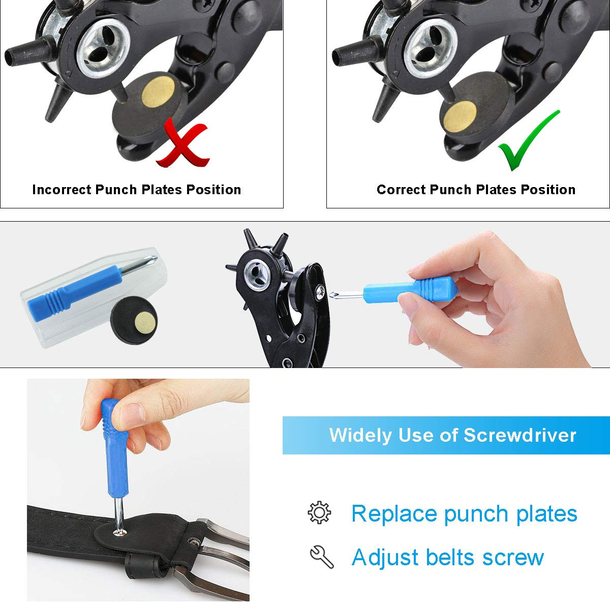 KCASA KA1 Heavy Duty Revolving Leather Belt Hole Punch Plier Tool with 2 Extra Punch Plates and Ruler Leather Craft Tool