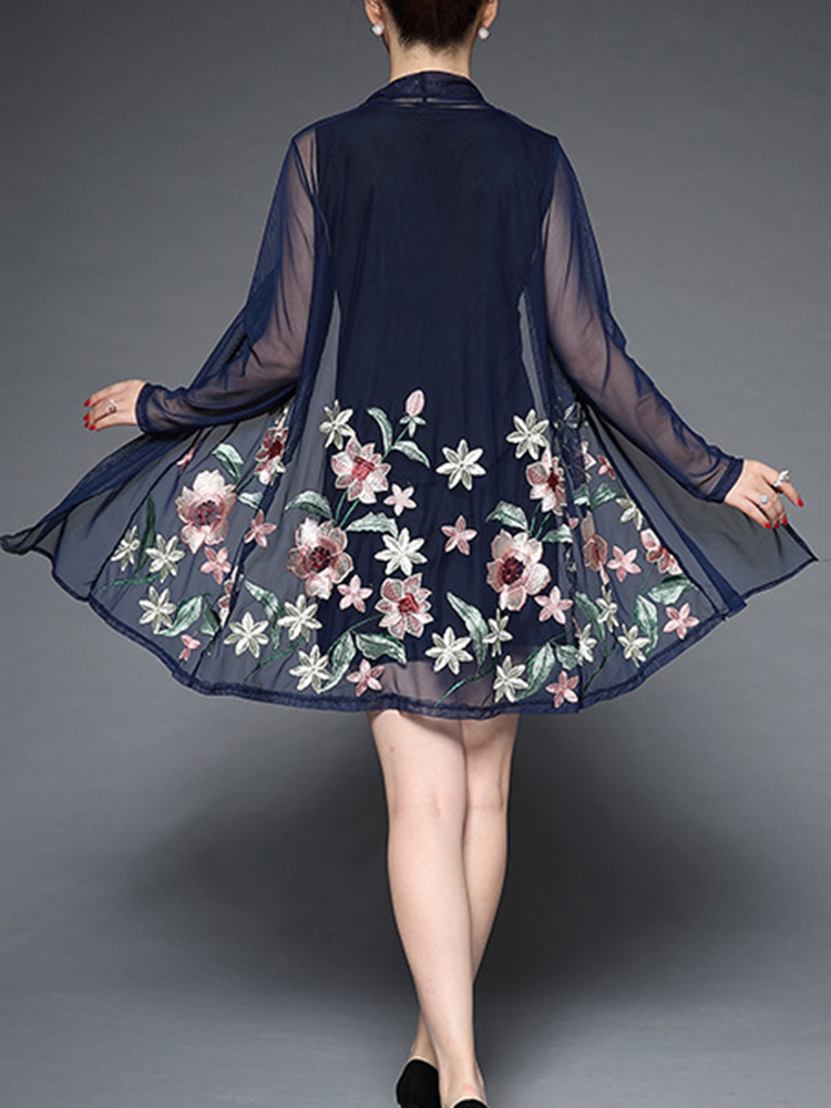 Plus Size Elegant Women Flowers Dress and Cardigan