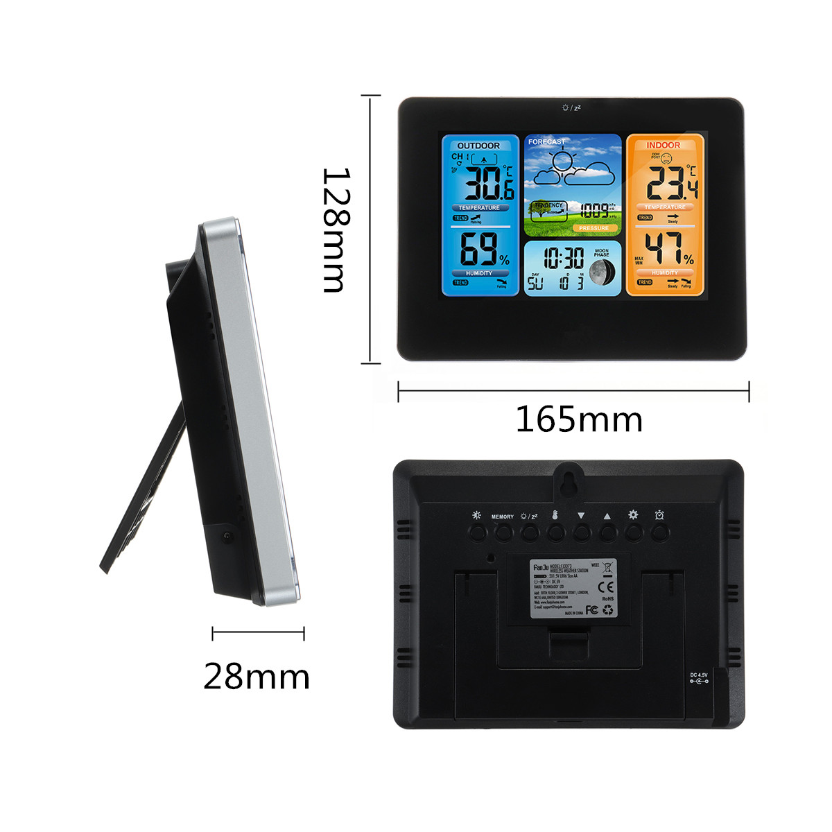 Wireless LCD Color Weather Station Digital Forecast Hygrometer Thermometer Clock Sensor -20~60°C