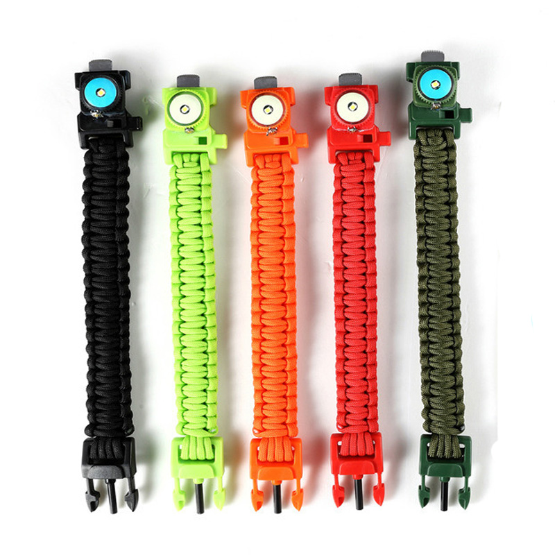 Outdoor EDC Survival Led Bracelet Paracord Knitted Wristband With Compass Camping Wildness Tool