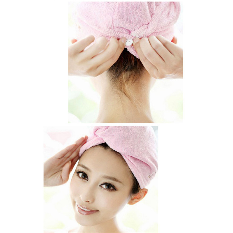 Cute Soft Hair Towel Dry Hair Hat Microfiber Solid Quickly Shower Cap Bath Accessories Drying Towel Head Wrap Hat