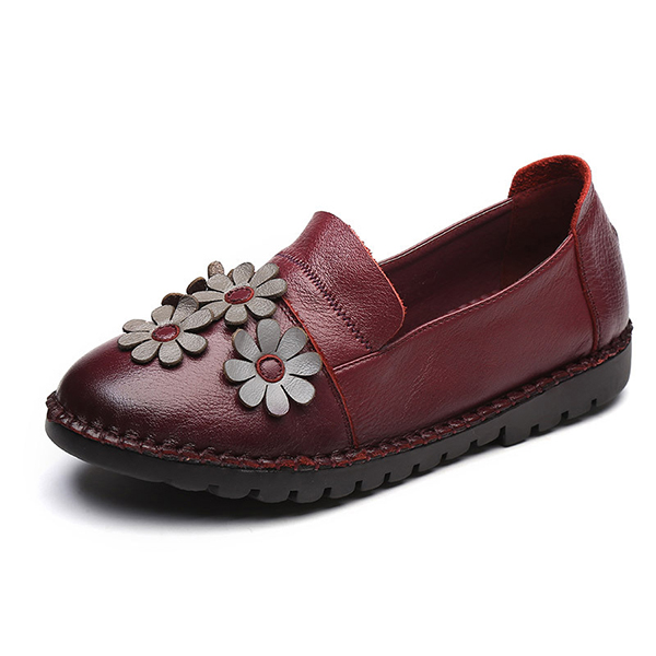 Genuine Leather Casual Slip On Flat Loafers For Women