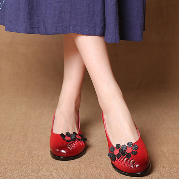 SOCOFY Leather Retro Flat Shoes