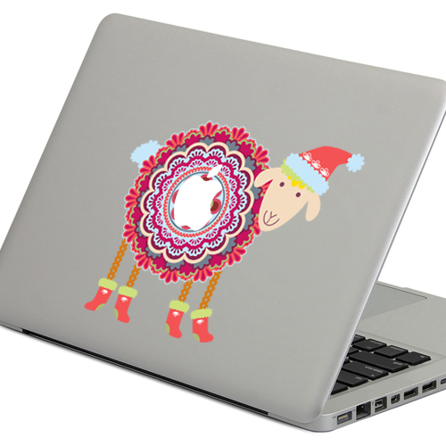 PAG Winter Sheep Decorative Laptop Decal Removable Bubble Free Self-adhesive Skin Sticker