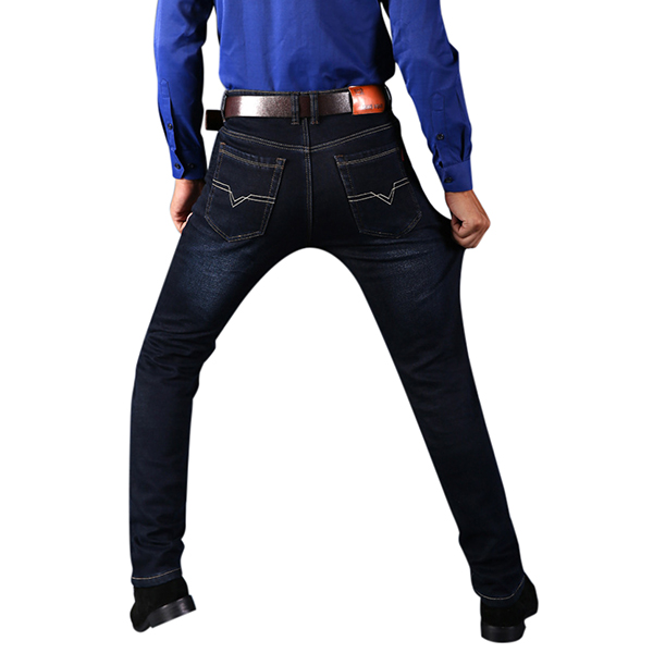 Large Size Winter Man Jeans Straight Slim High Elastic Thick Warm Long Cacual Trousers