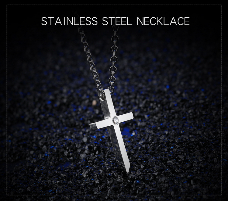 Silver Smooth Simple Cross O Shape Necklace Chain Couple Gifts For Women Men