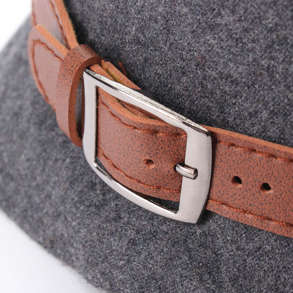 Women Vintage Belt Buckle Cloche Wide Brim Wool Hats Felt Bowler Fedora Hat Bowler Caps