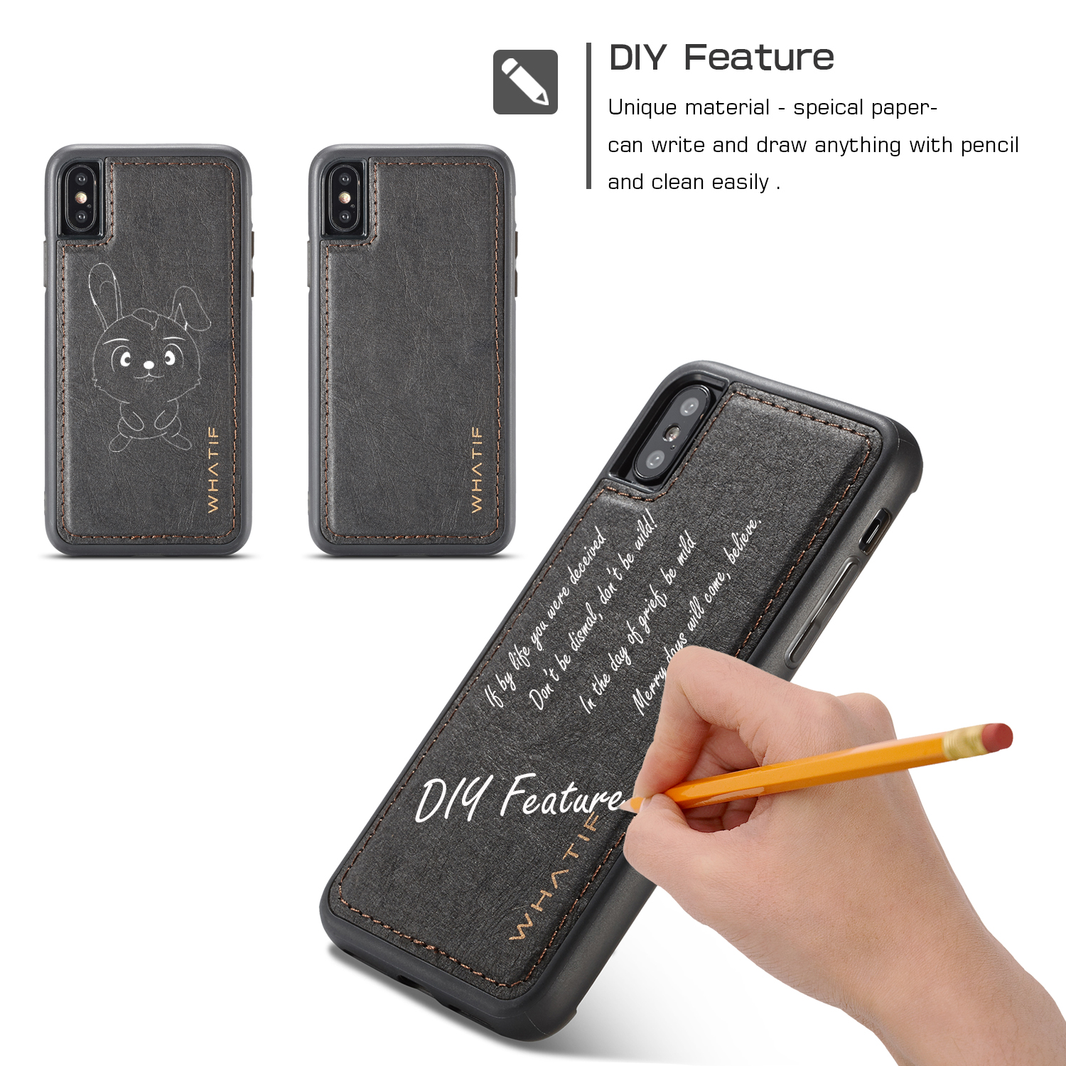 Waterproof Kraft Paper DIY Feature Case For iPhone Series/ X/8/8 Plus/7/7 Plus/6s/6s Plus/6/6 Plus