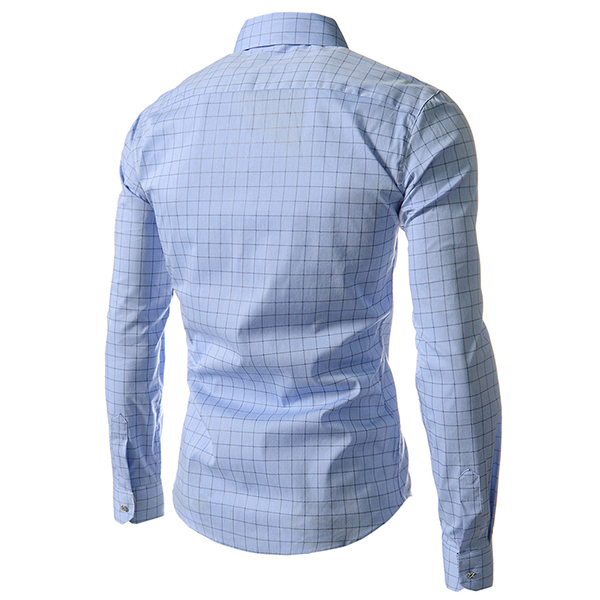 Mens Fashion Plaid Long-sleeved Lapel Checkered Shirt