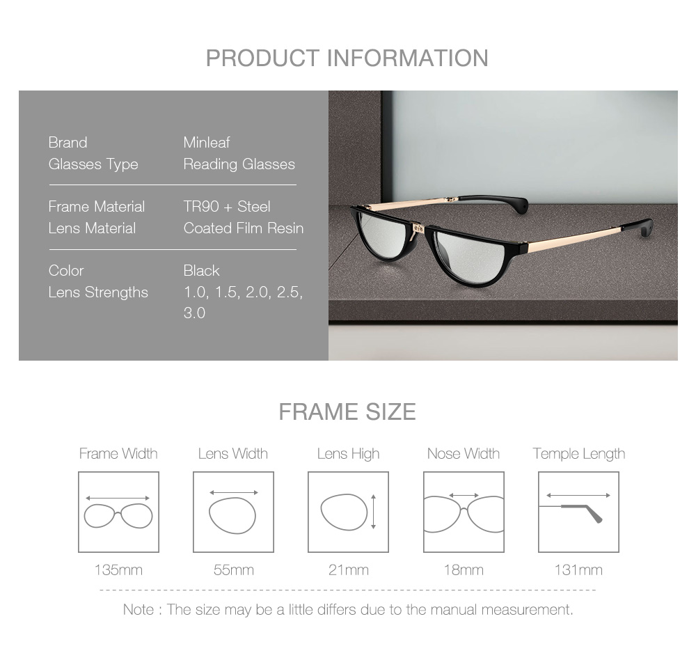 Minleaf TR Resin Anti-blue Folding Reading Glasses