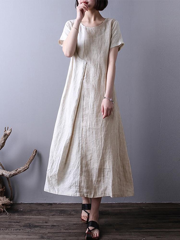 Women Vintage Striped Short Sleeve Splice Mid-long Dress