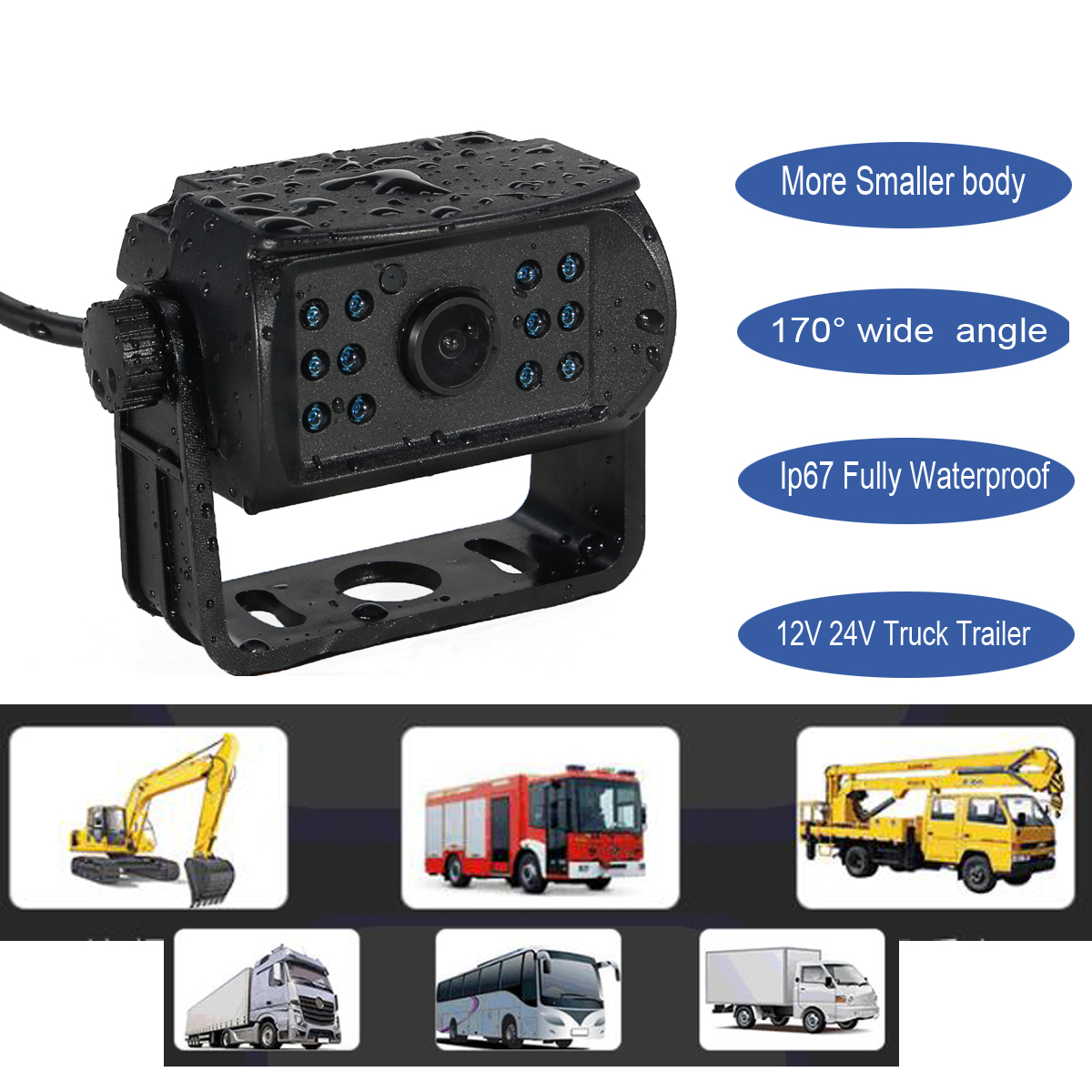 Car Rear View Camera for Bus Truck IR LED Reverse Camera 12-24V 170 Degree Wide View Angle