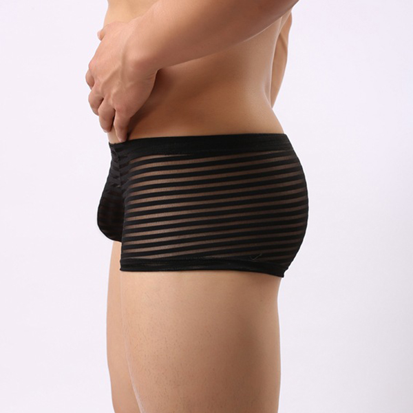Mens Striped Mesh Stitching Sexy Translucent Breathable Underwears Low Waist Boxers