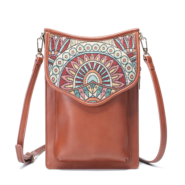 Brenice Bohemian Style Retro Canvas Floral Printing Women Phone Bag Shoulder Crossbody Bag