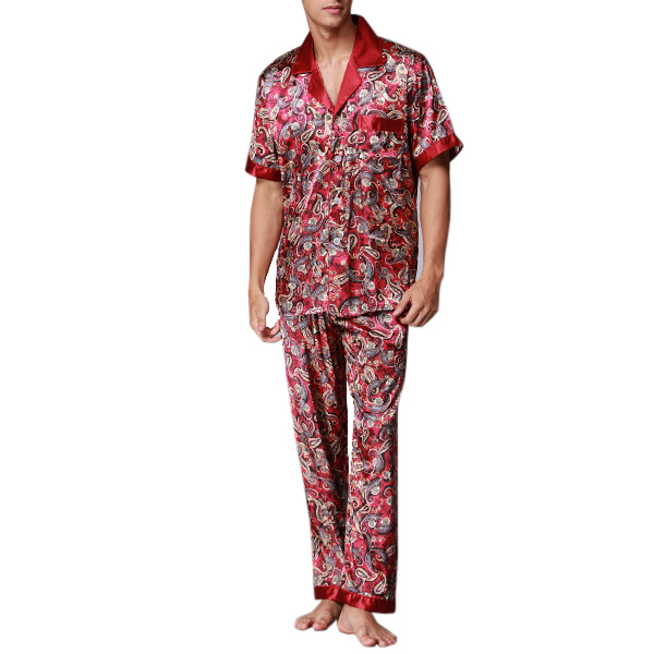 Mens Casual Imitation Silk Home Sleepwear Sets Printing Short Sleeve Long Pants Pajamas
