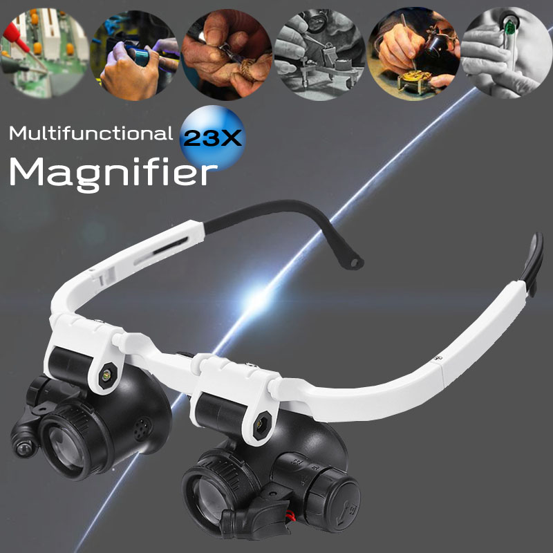 23X Binocular Eyepiece Magnifier Magnifying Glasses Jeweler Watch Repair Kit Adjustable LED Light
